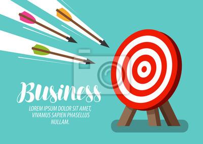 Naklejka Cel i latające strzały. Pomysł na biznes. Ilustracji wektorowych