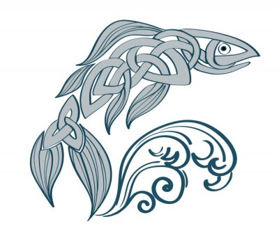 Naklejka Celtic braided fish with wave