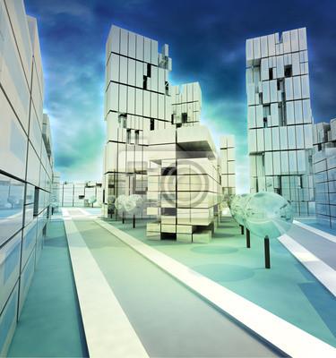 Centrum wysiadł zimowy ilustracji miasto z nieba