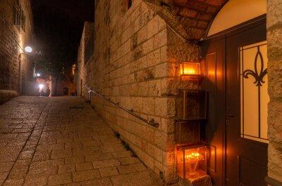 Naklejka Chanuka lights on old jerusalem city street