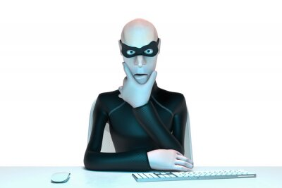 Naklejka Character Hacker John Scammer in mask using laptop committing theft. cyber attack and internet security. 3d rendering