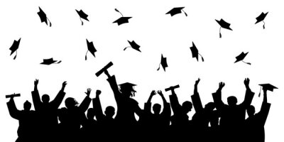 Naklejka Cheerful graduate students with diploma, throwing academic caps, silhouette. Graduation at university or college or school. Vector illustration.