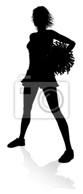 Cheerleader detailed silhouette with pompoms