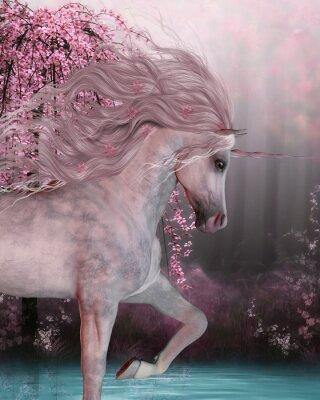 Naklejka Cherry Blossom Unicorn - Jednorożec Koń jest mityczny stwór z rogami na czole i to rozszczepione kopyta i mieszka w magicznym lesie.