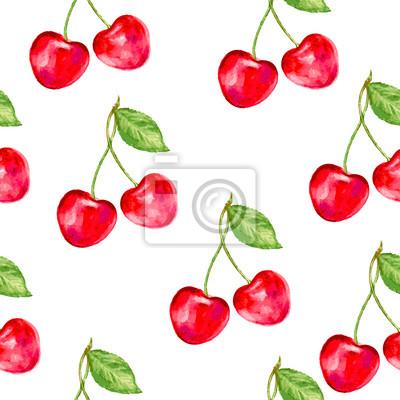 Naklejka Cherry szwu wektorowe. Idealny do tapet, papier pakowy, tekstyliów, kosmetyków i designu opakowania.