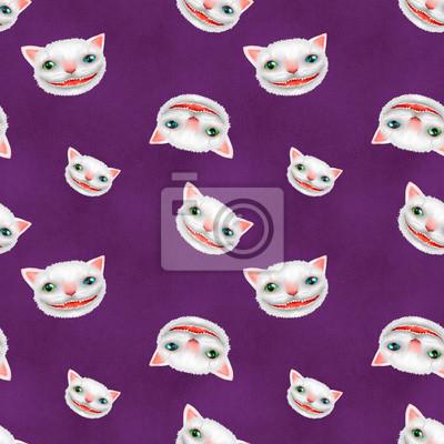 Cheshire kot, bezszwowy backround, wzór