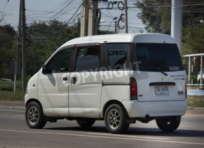Naklejka CHIANG MAI, THAILAND -JANUARY 9 2018:     Private Mini Van of Daihatsu Hijet. On road no.1001, 8 km from Chiangmai city.
