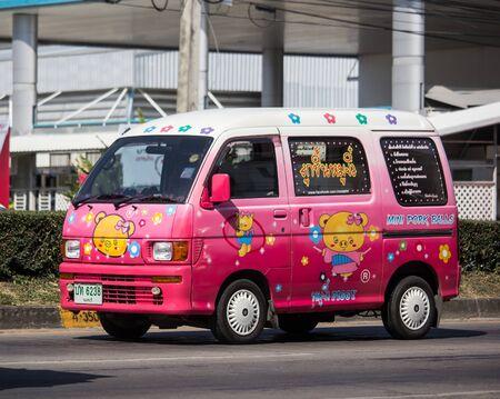 Naklejka Chiangmai, Thailand - November 25 2019:  Private Daihatsu old Van Car. On road no.1001, 8 km from Chiangmai city.