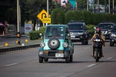 Naklejka Chiangmai, Thailand -  October 10 2019: Private Small Car Daihatsu Midget. Photo at road to chiangmai city.