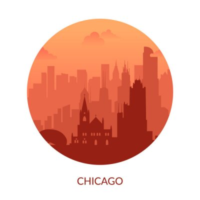 Chicago, USA famous city scape view background.