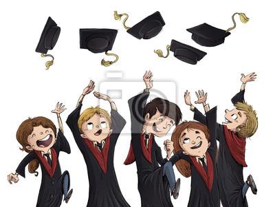 Naklejka Chicos felices de graduacion