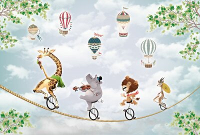 Naklejka children's picture, animals on a wheel ride on a tightrope against the sky with balloons
