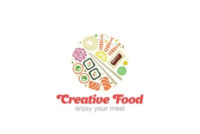 Naklejka Chiński Japoński Sushi Sashimi Seafood Logo projektu.