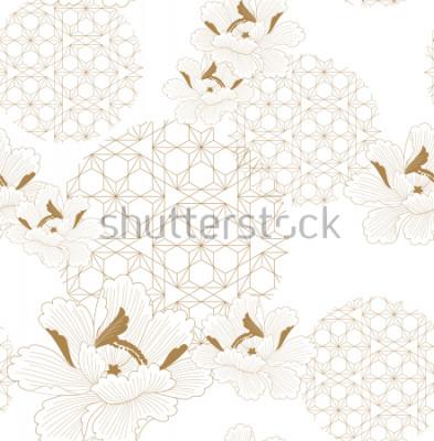 Naklejka Chiński wzór bez szwu wektor. Złoty kwiatowy z japońskimi elementami geometrycznymi tło dla tekstyliów, papier pakowy, tło, szablon, projekt strony tytułowej.
