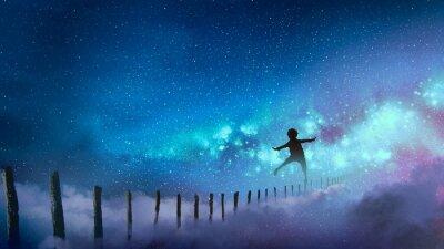 Naklejka Chłopiec balansujący na desce przybija do Drogi Mlecznej z wieloma gwiazdami, cyfrowym stylem sztuki, malarstwem ilustracyjnym