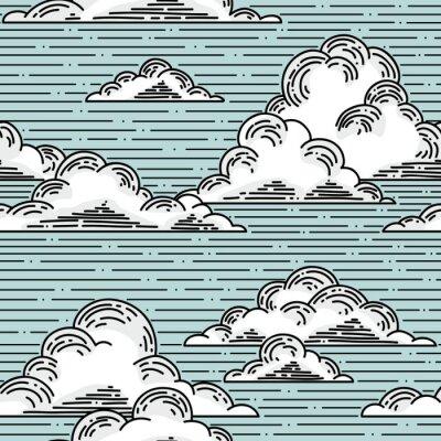 Naklejka Chmury bez szwu wzór, ręcznie rysowane ilustracji. tło wektor