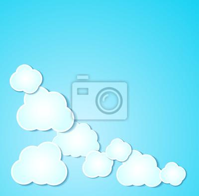 Chmury papieru przedstawiono tło w kolorze niebieskim.