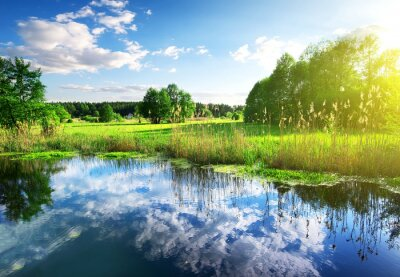 Naklejka Chmury w rzece