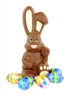 Naklejka Chocolate Easter bunny i jaj