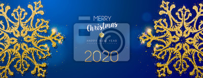 Christmas and New Year banner of gold snowflake