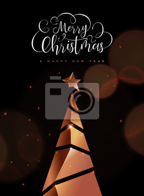 Christmas and new year card of copper 3d pine tree