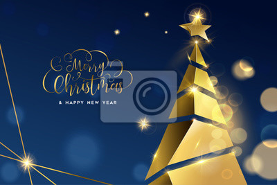 Christmas and New Year gold 3D pine tree card