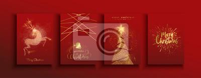 Naklejka Christmas and new year gold glitter luxury card set