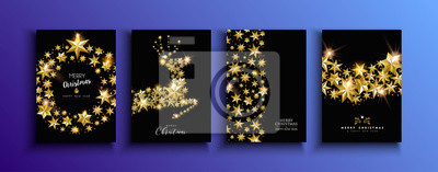 Christmas and new year gold star deer card set