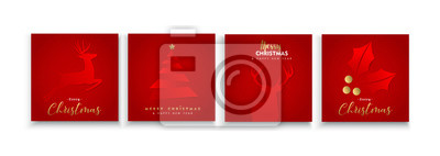 Christmas and New Year red papercut card collection