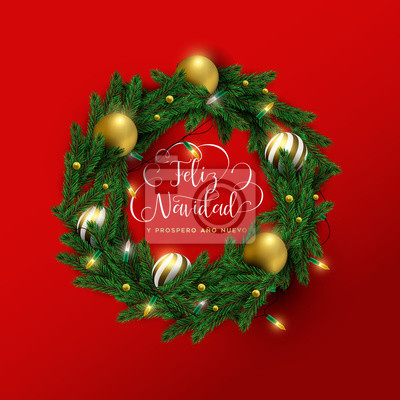 Christmas and new year spanish red 3d wreath card