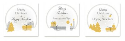 Christmas greeting cards. Trendy square Winter Holidays art templates. `Composition in paper cut style. Vector illustration.