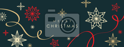 Naklejka Christmas greetings banner with swirl ribbons and stars on black colour background