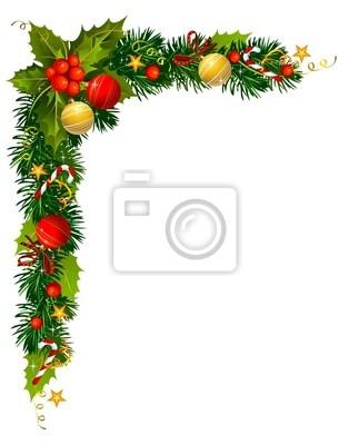 Christmas holly oddział w rogu