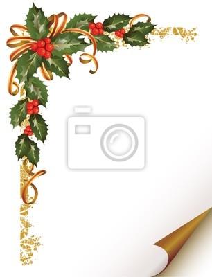 Christmas holly oddział w rogu papieru