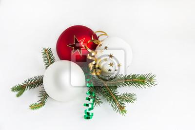 Naklejka Christmas kulki na gałęzi