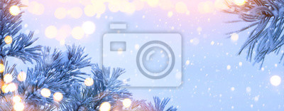 Christmas Lantern. Christmas and New Year holidays background with Christmas Tree and holiday light, winter season