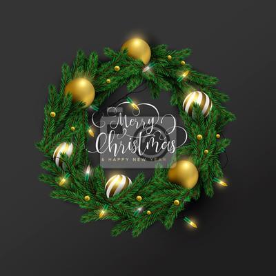 Christmas new year 3d gold ornament wreath card