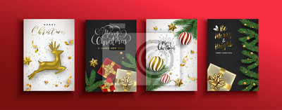Christmas new year card set of gold 3d ornaments