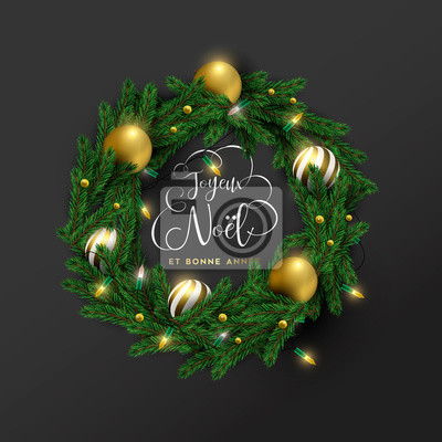 Christmas new year french ornament wreath card