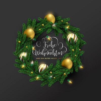 Christmas new year german ornament wreath card
