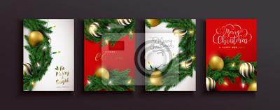 Christmas new year gold bauble xmas pine tree set