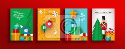 Christmas New year papercut holiday toy card set