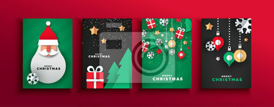 Christmas New year papercut santa claus card set