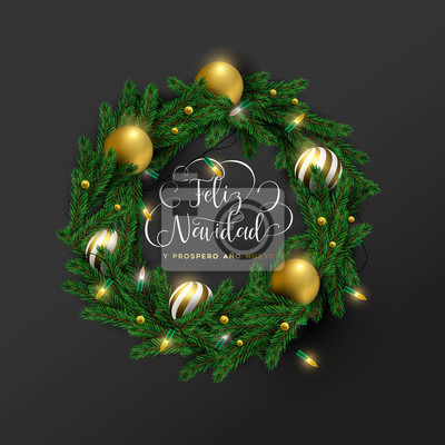 Christmas new year spanish ornament wreath card