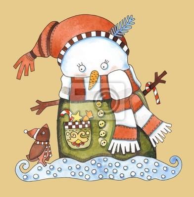 Christmas projektu. Snowman Akwarela