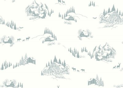 Christmas seamless pattern with drawing winter landscape, houses, chalets and animals. Vector winter illustration in vintage style on ivory background.