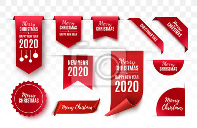Naklejka Christmas Tags set. Red scrolls and banners isolated. Merry Christmas and Happy New Year labels. Vector illustration