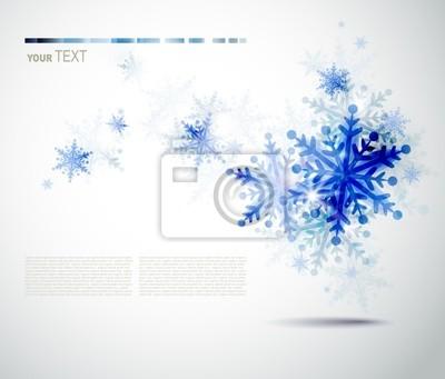 Christmas tła z abstrakcyjna niebieski płatki śniegu zimą