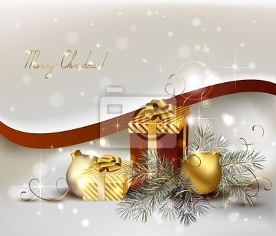 Christmas tła z kulkami i prezenty