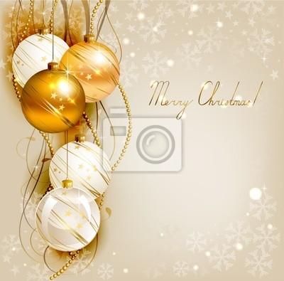 Christmas tła z złote i białe kulki wieczorem